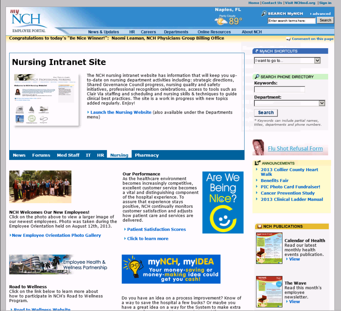 MyNCH Employee Intranet